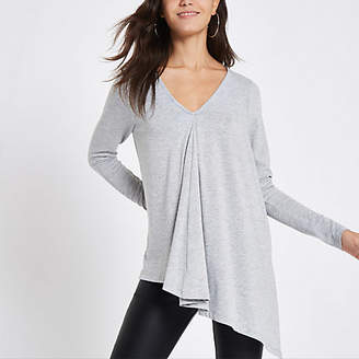 River Island Womens Light grey long sleeve drape top