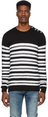 Balmain Black and White Striped Nautical Sweater