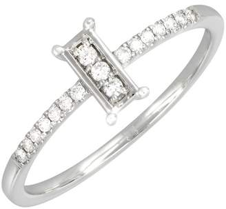 Bony Levy 18K White Gold Pave Diamond Framed Stacking Ring - 0.10 ctw