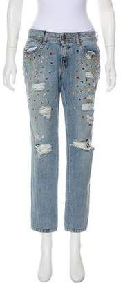 Just Cavalli Embellished Mid-Rise Jeans