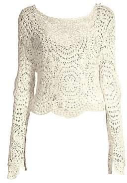 LoveShackFancy Women's Alicia Crochet Sweater