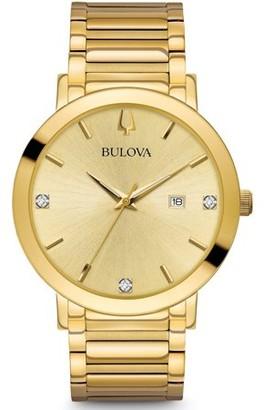 Bulova Men's Modern Black Dial Yellow Gold Steel Bracelet Diamond Watch 97D116