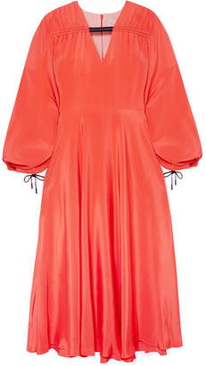 Roksanda Houma Silk Crepe De Chine Midi Dress - Papaya