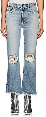 Current/Elliott Women's The High Waist Kick Distressed Flared Jeans