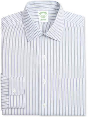 Brooks Brothers Men's Milano Classic/Regular Fit Non-Iron Pinpoint Gray Blue Strip Dress Shirt
