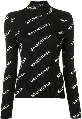 Balenciaga Allover Logo Turtleneck Sweater