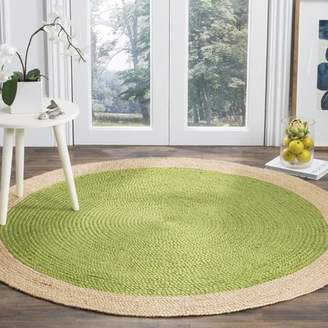Beachcrest Home Cayla Fiber Hand-Woven Green/Natural Area Rug