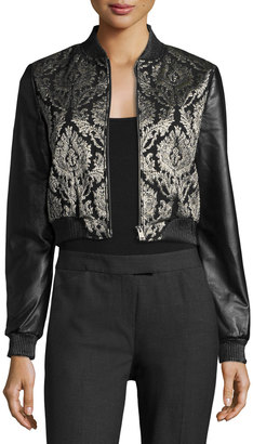 LaMarque Redell Metallic-Embroidered Leather Bomber Jacket $192 thestylecure.com