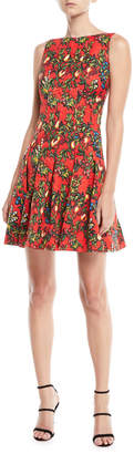 Oscar de la Renta Sleeveless Pomegranate & Floral Print Fit-and-Flare Dress