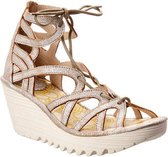 Fly London Yuke 663 Leather Wedge Sandal