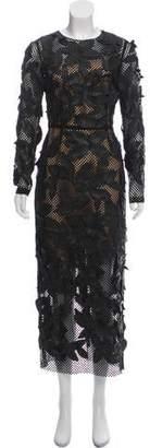 Oscar de la Renta 2018 Leather Embellished Evening Dress w/ Tags