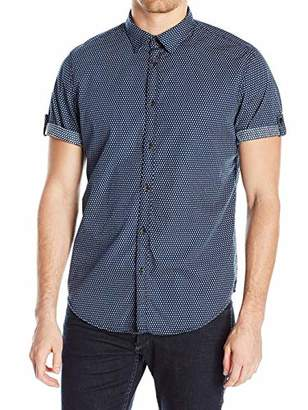 Calvin Klein Jeans Men's Short Sleeve Roll Tab Rollup Diamond Print Button Down Shirt