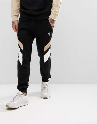 Religion Tapered Fit Jogger In Suedette With Contrast Panels