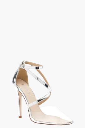 boohoo Strap Pointed Clear Heels
