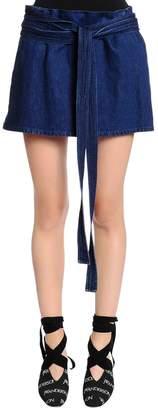 J.W.Anderson Cotton Denim Skirt W/ Leather Pocket