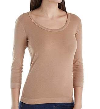 Three Dots Women's 3/4 Sleeve Playgirl Scoop-Neck T-Shirt
