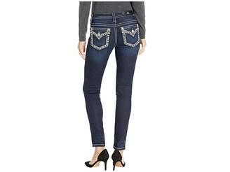 Miss Me Border Embellished Skinny Jeans in Dark Blue