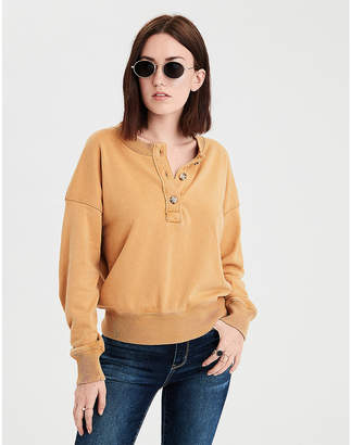 American Eagle AE Ahhmazingly Soft Henley Sweatshirt