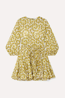 Rhode Resort Ella Pleated Floral-print Cotton-poplin Mini Dress - Yellow