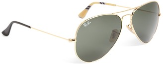 Brooks Brothers Ray-Ban Aviator Sunglasses with Yellow BB#1 Rep Stripe