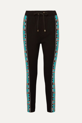 P.E Nation Double Block Striped Stretch-jersey Track Pants