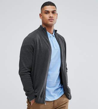 Polo Ralph Lauren Big & Tall Zip Through Sweater in Grey
