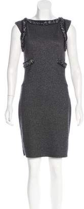 Chanel Lesage Tweed-Trimmed Cashmere Dress