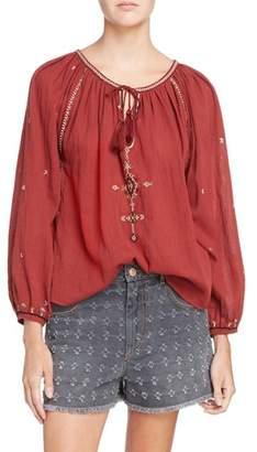 Etoile Isabel Marant Melina Embroidered Cotton Top