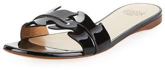 Francesco Russo Flat Leaf Patent Slide Sandal
