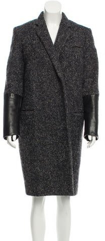 Celine Céline Leather-Accented Tweed Coat