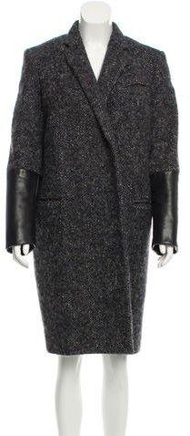 CelineCéline Leather-Accented Tweed Coat