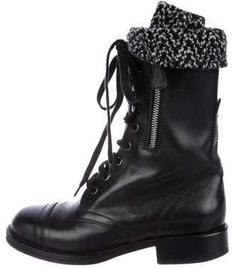 Chanel CC Knit Combat Boots