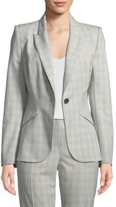 Elie Tahari Allegra Micro-Plaid One-Button Jacket