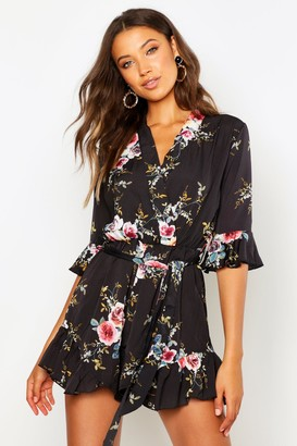 boohoo Tall Floral Ruffle Detail Playsuit