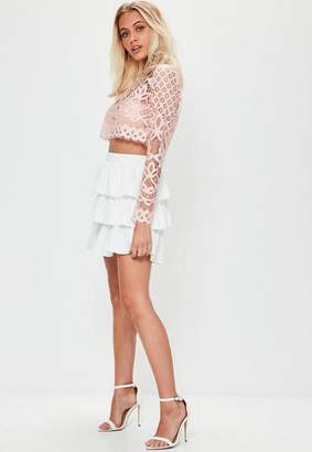 Missguided Pink Patterned Lace Crop Top