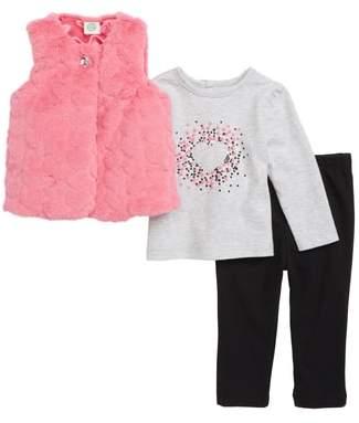 Little Me Heart Plush Vest, Tee & Leggings Set