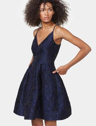 Halston Sleeveless Jacquard Fit & Flare Dress