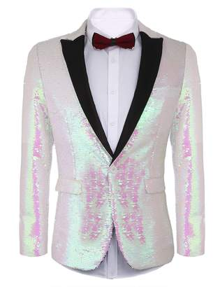Etuoji Shiny Sequins Suit Jacket Blazer One Button Tuxedo for Party,Nightclub,Wedding,Banquet,Prom