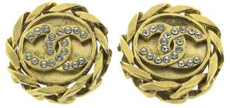 Chanel Gold and Crystal CC Earrings