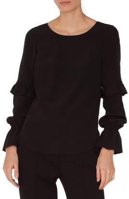 Akris Punto Ruffle Sleeve Silk Blouse