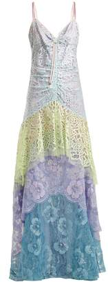 Peter Pilotto Tiered floral-lace slip dress