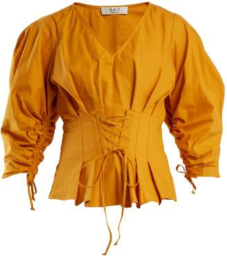 Sea Windbreaker corset-waist cotton-blend top