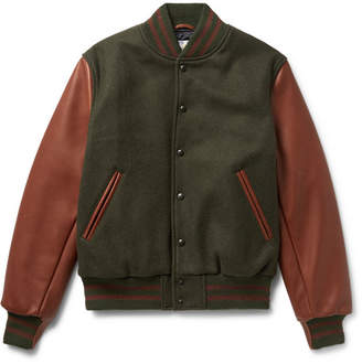 GoldenBear Golden Bear - Virgin Wool-Blend and Leather Bomber Jacket