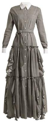 Sara Battaglia Gingham Cotton Dress - Womens - Black White