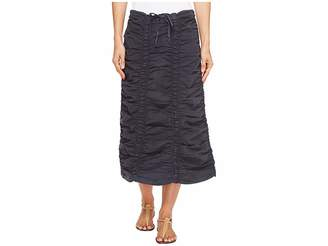 XCVI Stretch Poplin Double Shirred Panel Skirt
