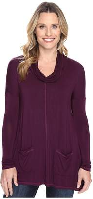 Mod-o-doc Rayon Spandex Jersey Pullover Cowl Funnel Tunic Women's Clothing