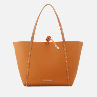 Armani Exchange Women's Leather Stud Tote Bag - Light Brown