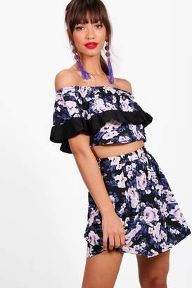 boohoo Becky Floral Off Shoulder Crop & Skirt Co-Ord Set