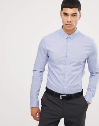 New Look muscle fit poplin shirt in light blue