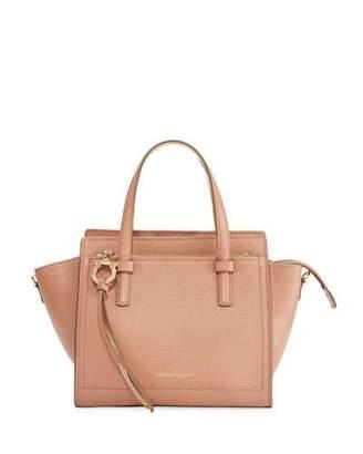 Salvatore Ferragamo Amy Small Bicolor Leather Satchel Bag